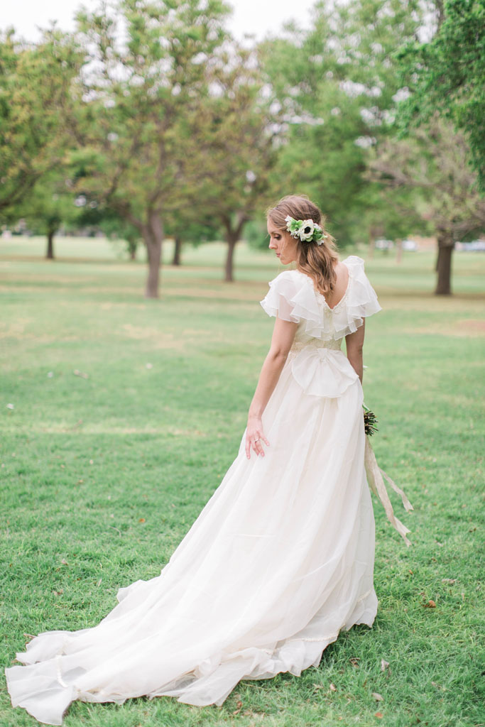 Vintage bride with spring flowers in her hair. Flowers and styling Jessica Ormond Events. Photography Emily Koontz.