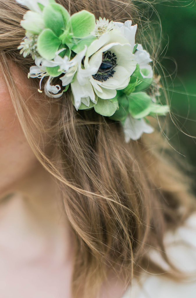 Bride with spring flowers in her hair. Flowers and styling Jessica Ormond Events. Photography Emily Koontz.