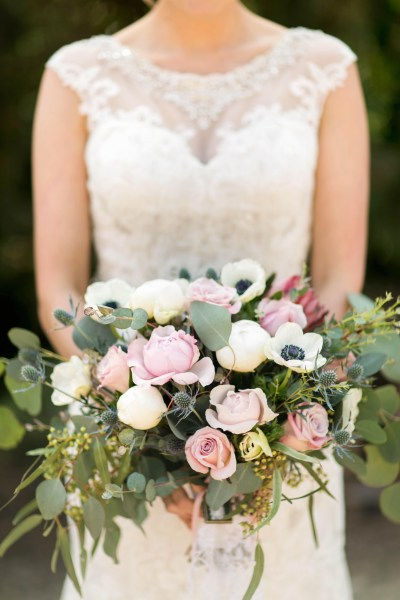 Romantic blush bouquet of roses, anenomes, peonies, thistle, and silver dollar. Texas florist, Jessica Ormond Events. Photo by Allee J Photography.