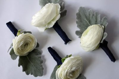 Ranunculus and Dusty Miller boutonniere designed by Texas florist Jessica Ormond Events