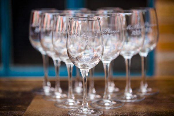 Wedding reception wine glasses at McPherson's Cellars. Texas Wedding Planner Jessica Ormond Events. Photographer: Caitlin & Ryan Photography.