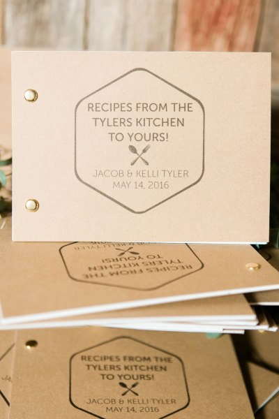 Recipe book wedding favors at West Texas wedding. Planner - Jessica Ormond Events. Photographer - Allee J.