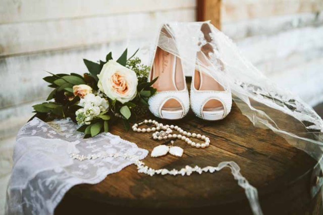 Bride's shoes, veil, and details with garden rose bouquet. Ashley J Photograhpy. Jessica Ormond Events.