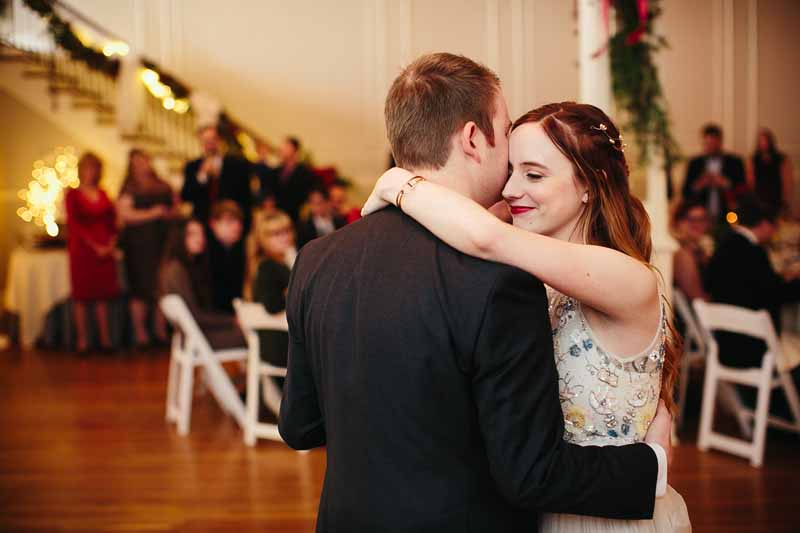 First dance. Christmas wedding at the Watson Building, Lubbock, Texas. Photo by Betsy. Wedding planner Jessica Ormond Events.