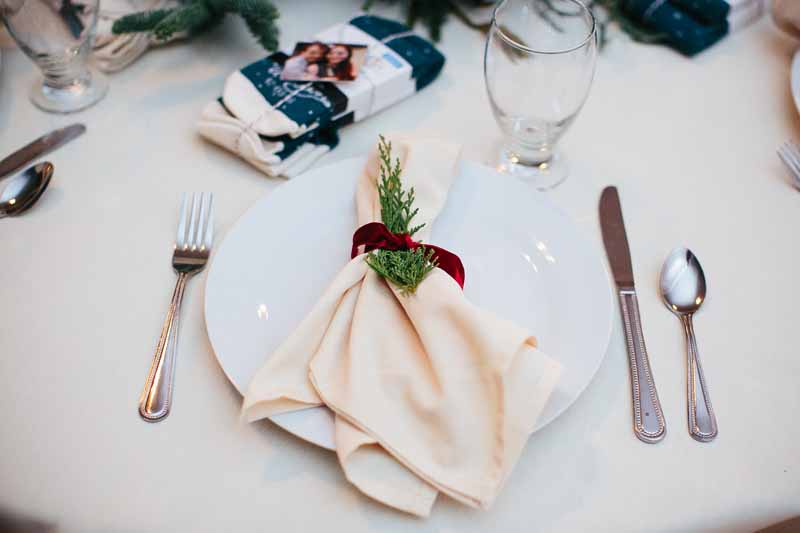 Elegant winter place setting for brunch reception. Texas wedding photographer Photo by Betsy. Planner Jessica Ormond Events.