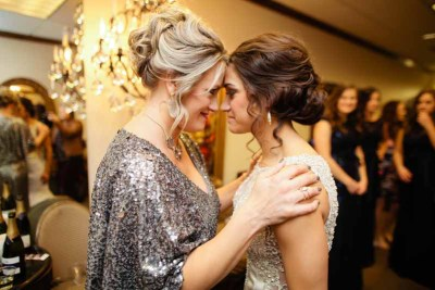 Sweet mother and bride moment at winter Texas wedding. Photo by Lubbock, Texas photographer Tara Hobgood.
