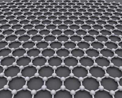 Grafeno: como uma rede de arame onde os pontos são átomos de carbono - Alexander Aius via Wikimedia Commons
