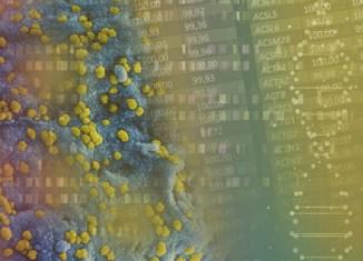 Pesquisadores brasileiros conseguem sequenciar o genoma do Coronavírus - Arte sobre foto NIH e 123RF