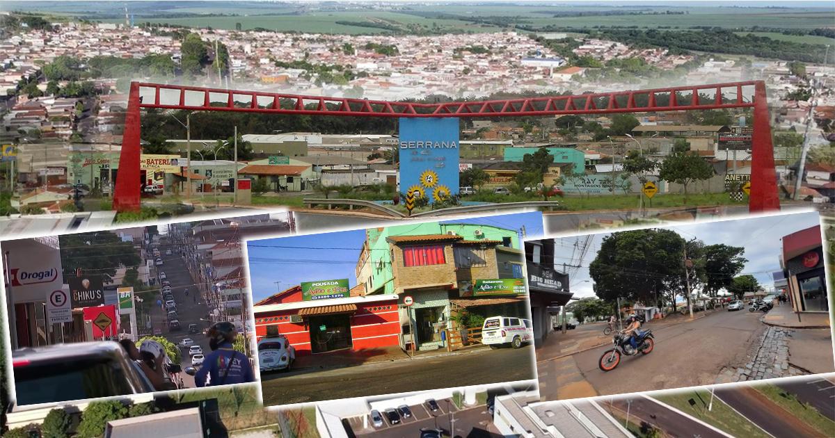 Fotomontagem sobre imagens do Portal da entrada de Serrana e do comércio da cidade - Fotos: Marco Aurélio Esparzcc via Wikimedia Commons/BY-SA 3.0, Reprodução/EPTV e refeitura Municipal de Serrana