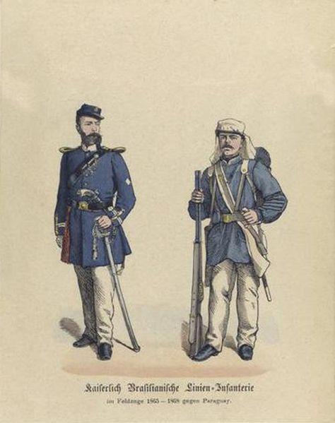 Oficial e soldado do Império do Brasil, uniformes da Guerra do Paraguai. Date 1867