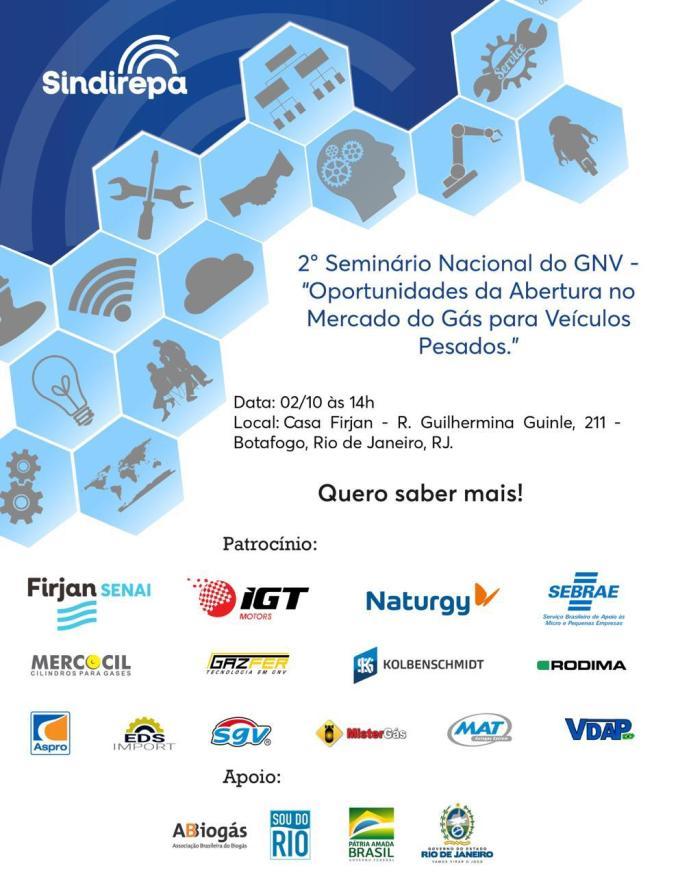 jornal brasil pecas, SindirepaRJ, Sindirepa e  Firjan, Nacional do GNV, 2º Seminário Nacional do GNV - Sindireparj