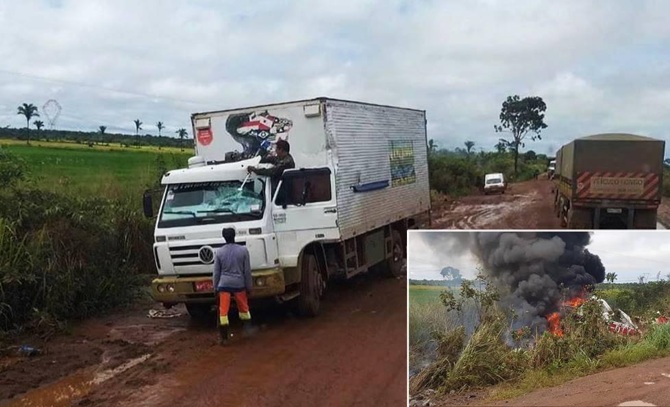 Piloto morre após avião agrícola atingir caminhão baú na BR-135