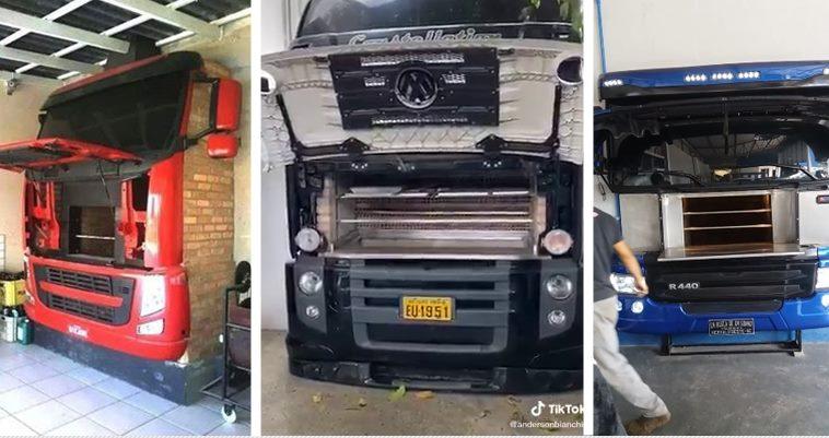 Caminhões são transformados em churrasqueiras