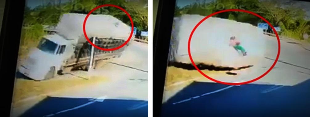 Homem que viajava em cima de carga de carvão fica ferido após caminhão tombar