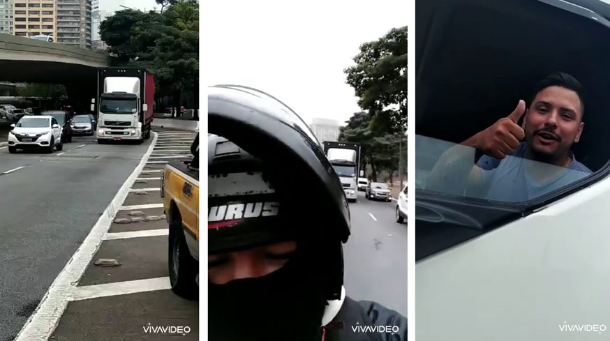Motociclista ajuda caminhoneiro a desviar de viadutos em SP