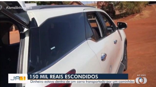 Polícia encontra R$150 mil dentro de veículo transportado por caminhão baú