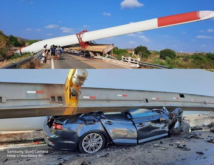 Carreta que transportava pá eólica se envolve em acidente na BR-020