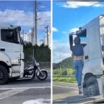 Vídeo: Moto é arrastada por 32km, com motociclista pendurado na cabine de caminhão