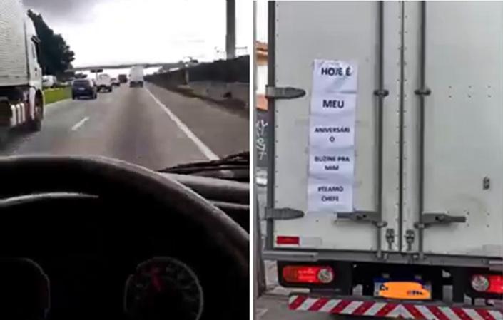 Patrão cola cartaz na traseira de furgão e motorista sem entender recebe os parabéns