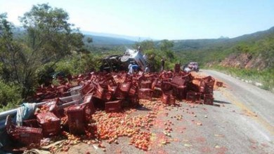 Photo of Chapada: Caminhão carregado de tomates tomba na BA-148 entre Abaíra e Piatã