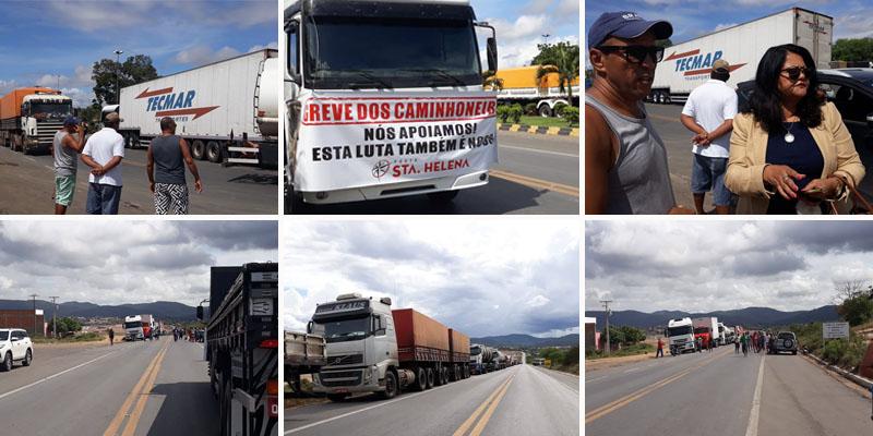 Chapada: Caminhoneiros fecham BR-242 em Itaberaba contra aumento do diesel; protestos seguem