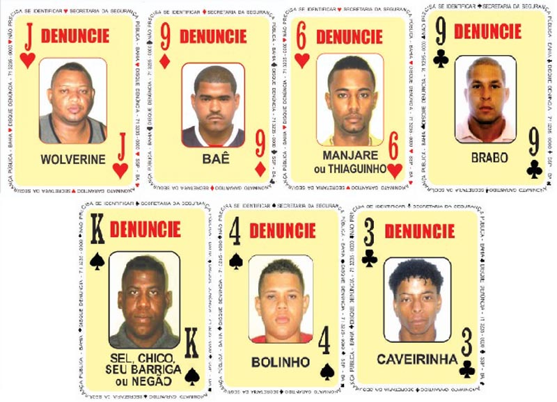 #Bahia: Sete criminosos são inseridos no Baralho do Crime, informa SSP