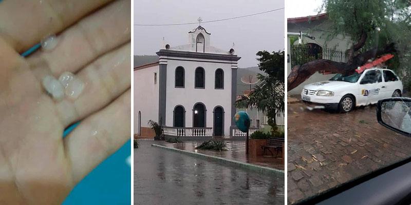 Chapada: Chuva de granizo e forte ventania causam estragos em Palmeiras no final de semana