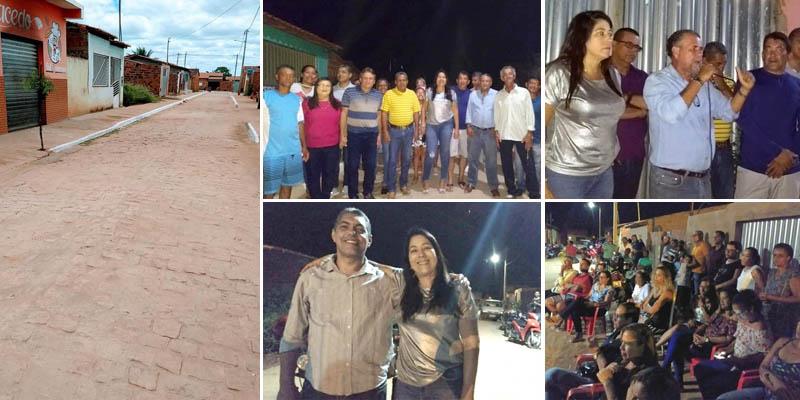 Chapada: Prefeita de Nova Redenção entrega à comunidade obra de nova rua pavimentada