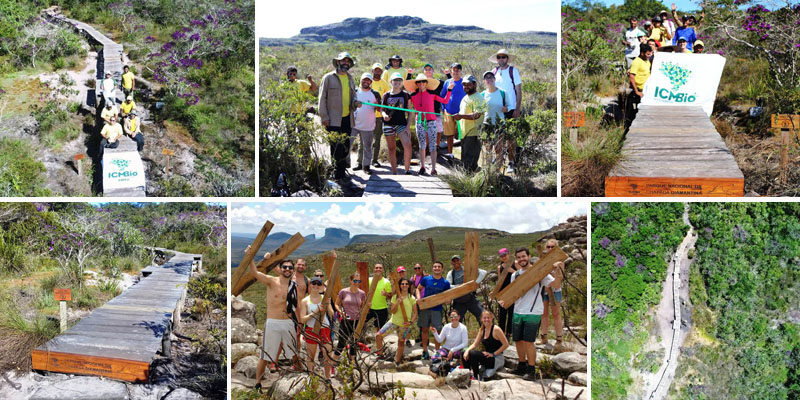 Chapada: Passarela na trilha da cachoeira da Fumaça é inaugurada por visitantes e ICMBio