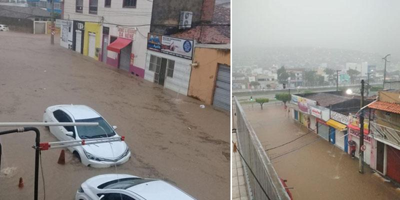 Chapada: Temporal em Jacobina deixa ruas alagadas e causa transtorno a moradores; fotos e vídeo