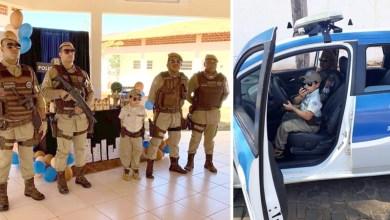 Photo of Chapada: Menino de seis anos recebe policiais em festa de aniversário em homenagem à PM em Abaíra