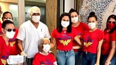 Photo of #Bahia: Idosa de 80 anos vence a covid-19 e familiares fazem homenagem com alusão à super-heroína 'Mulher Maravilha'