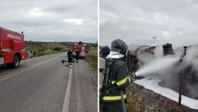 Photo of #Chapada: Bombeiros de Lençóis e Itaberaba debelam incêndio em caminhão-tanque em trecho da BR-242 na região de Lajedinho