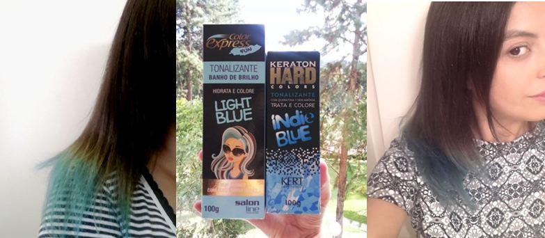 Testei três: tinta azul que dura muito