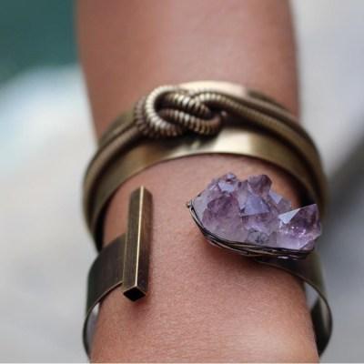 pulseira bracelete ametista ouro velho