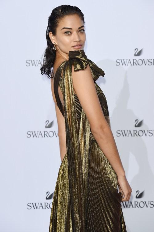 Shanina Shaik - vestido longo plissado ouro dourado escuro red carpet