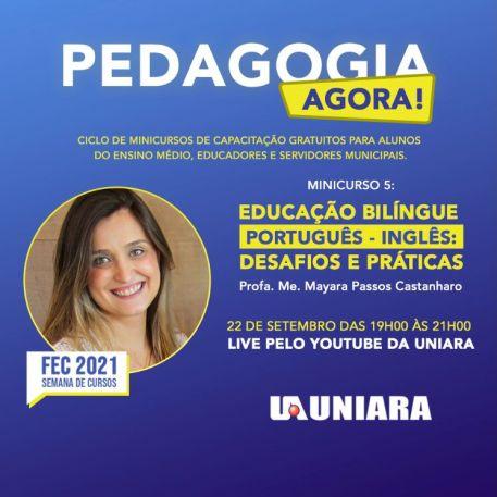 Pedagogia presencial da Uniara promove minicurso online e lives em função da Feira dos Cursos da universidade (1)