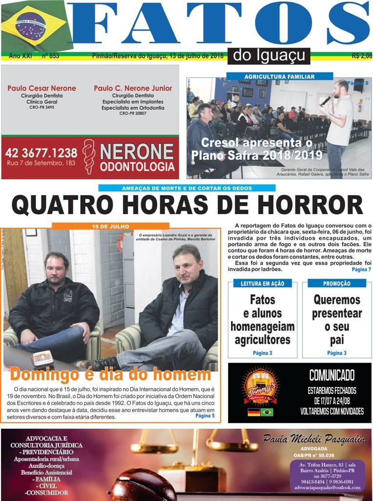 Capa e Editorial da Edição nº: 853