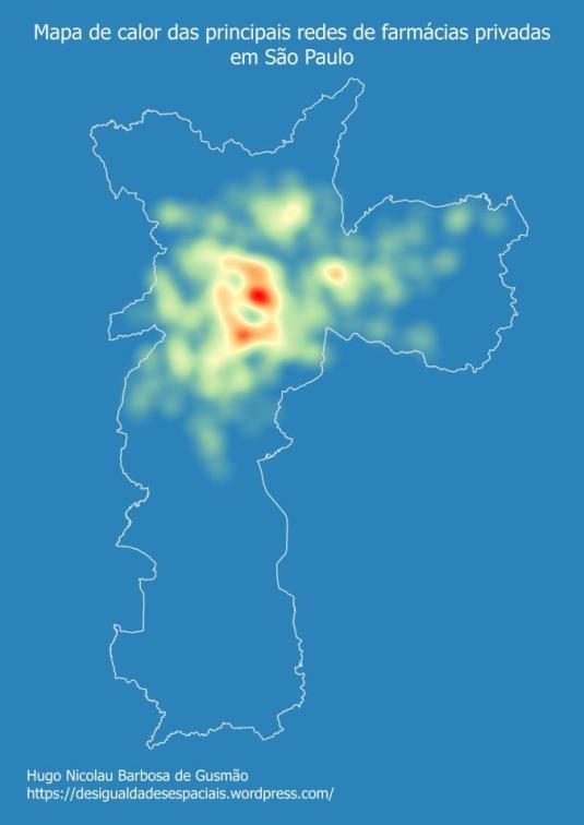 Mapa de calor das principais redes de farmácias privadas em São Paulo