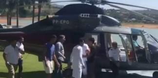 Vídeo; Fernando Pimentel busca filho de (helicóptero oficial) em festa