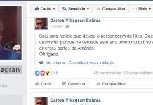 Carlos Villagran desmente boato que aposenta Quico, de 'Chaves'