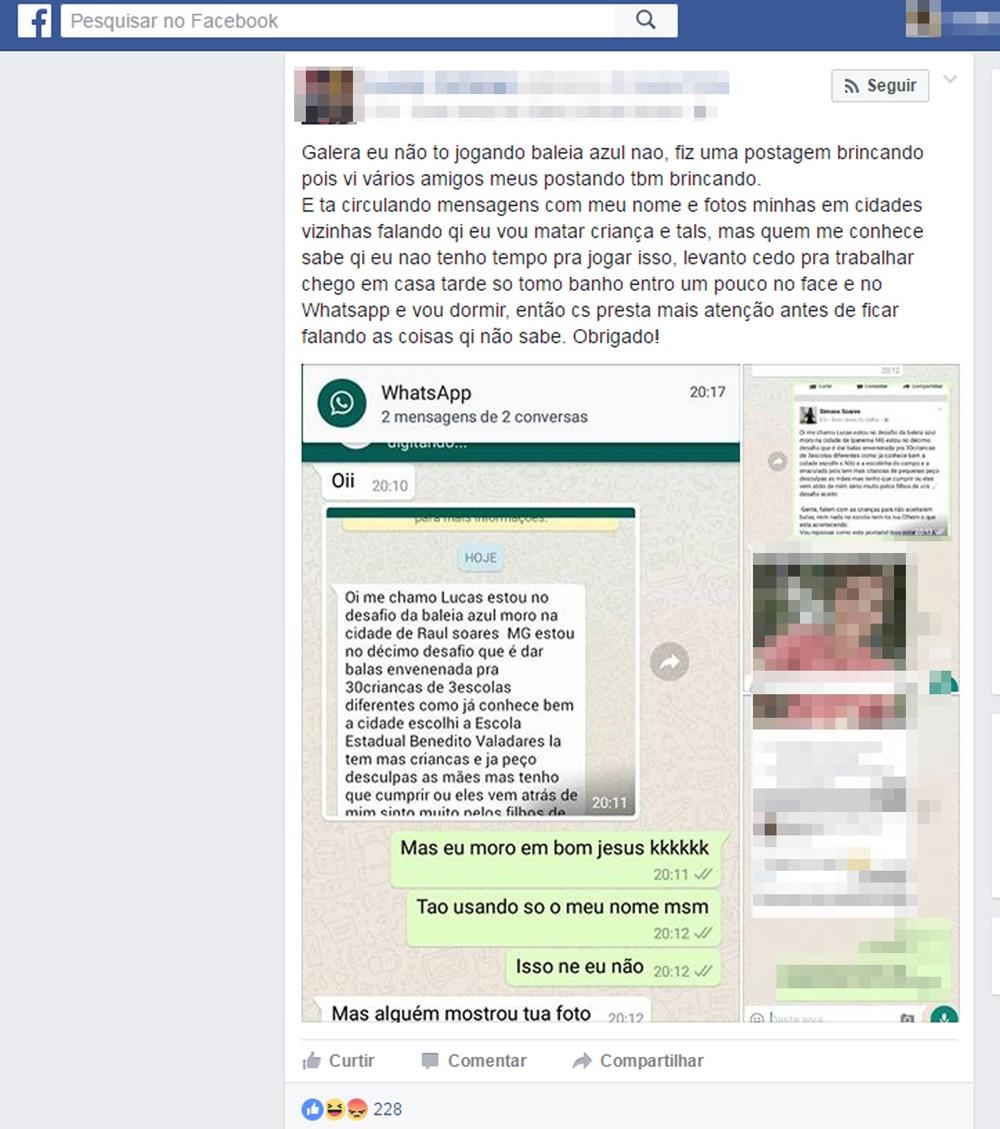Baleia Azul : Mensagem pelo whatsapp diz que jogador vai envenenar 30 crianças