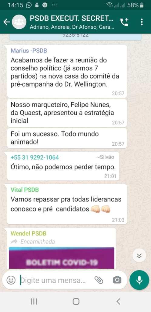 Print de grupo de whatsapp do PSDB Contagem revela articulação em torno da candidatura do substituto de Alex de Freitas