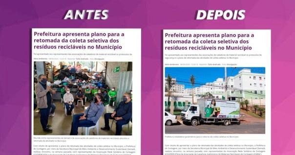Comparativo mostra a matéria do site da Prefeitura de Contagem antes e depois da substituição da fotografia com o pré-candidato do governo