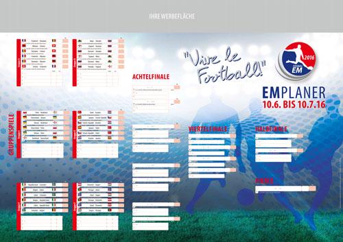 Spielplan der Fussball-EM 2016 als Poster