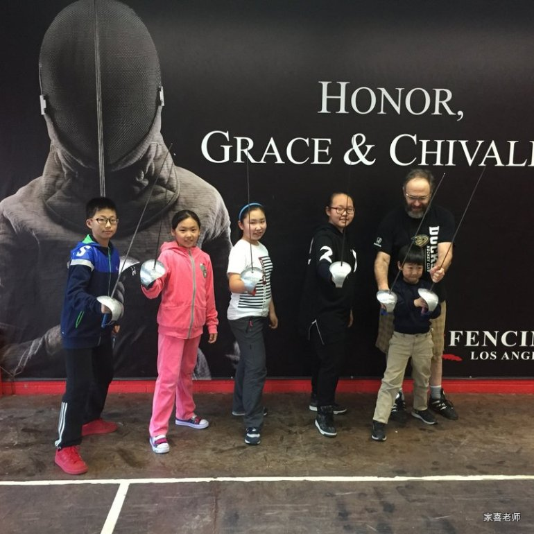 The kids took fencing lessons in LA
