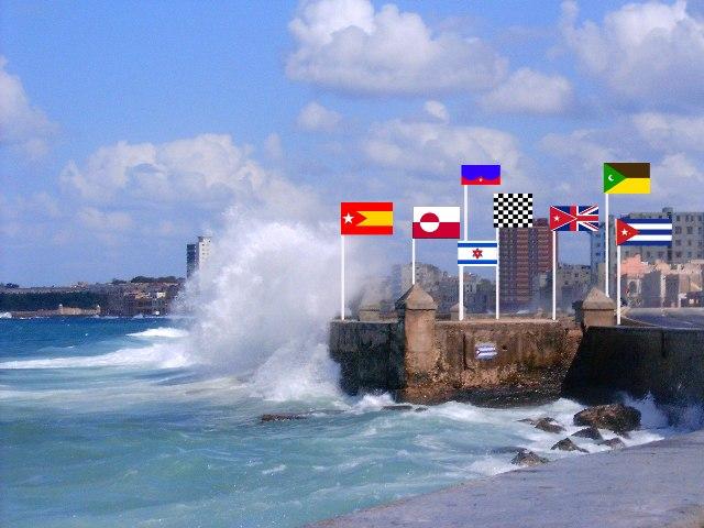 El Malecón Habanero con todas las Banderas, soñadas por Margarita García Alonso.
