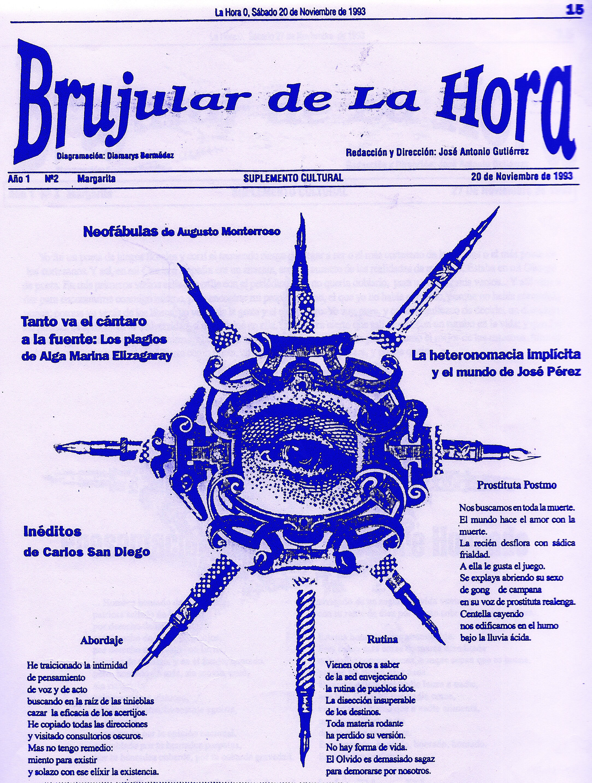 Suplemento BRUJULAR DE MARGARITA, que editaba Josán Caballero, en 1993, desde las páginas del Diario La Hora Cero.