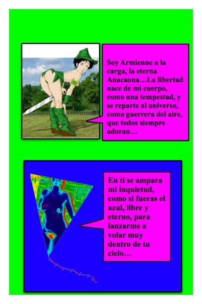 Tercer Papalote con Bandera de Armienne, hecho por Piero y Josán, con el papalote que le hiciera Ignacio a Armienne, para su Blog El Desnudo en el Arte, con historieta de Josán Caballero.