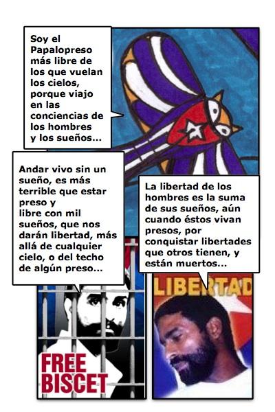 Homenaje a los presos políticos y de conciencia, en la persona de Oscar Biscet, historieta de Josán Caballero.